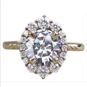 Jewelry - 14k yellow gold lab diamond 7 halo engagement ring
